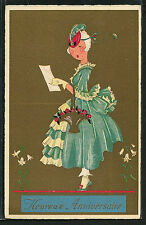 French ART DECO Fashion Plate Costume Lithograph Birthday 1920s ~ PARIS Latest!