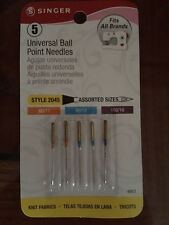 NEW LOT OF 5 SINGER UNIVERSAL  BALL POINT NEEDLES 2045 STYLE ASSORTED item 4863