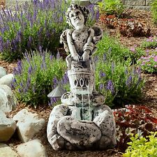 Pure Gardem LED Light Outdoor Cherub Fountain with Pump