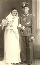 WWII German RPPC- Soldier- Infantry Assault Badge- Wedding- Frau- Bride- 1944
