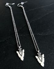 Silver Arrowhead Extra Long Dangle Hook Earrings--Stainless Steel Chain