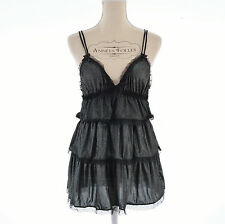 LINGERIE NUISETTE BABYDOLL SEXY TAILLE M OU 38 40 NOIR ARGENT KISS ZAZA2CATS
