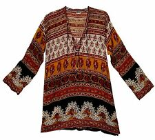 Indian boho cotton ethnic TOP HIPPIE BLOUSE TUNIC retro gypsy dress vintage look