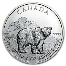 Grizzly Bear 1 oz 999 Silver coin Maple Leaf Canada Wildlife 2011 NEW