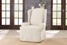 Ticking Stripe Wing Chair Slipcover  Dove Gray