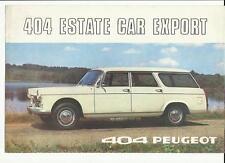 """PEUGEOT 404 Estate voiture d'exportation """"brochure"""" / Feuille 1969"""
