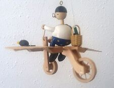 Flying Man on Bicycle Wooden Hanging Wupper  Airlines Vintage bouncing