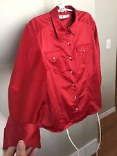Tommy Hilfiger Woman Satin Red Western Shirt Top Blouse Long Sleeve Size 18 GUC