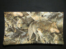 """Cosmetic Pouch - Lined - 10"""" Zip - Animals - Wolves"""