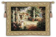 ENGLISH GARDEN COURTYARD ART TAPESTRY WALL HANGING LARGE 69x53