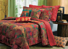 BEAUTIFUL EXOTIC ANTIQUE SPICE FLORAL BOHEMIAN BLUE RED QUILT SET QUEEN & KING