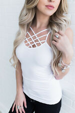 UK Women Sexy Hollow Out Vest Spaghetti Strap Camisole Tank Tops Blouse T Shirt