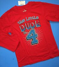 "~NEW~ 4th Birthday 4 Years Baby Boys ""Little DUDE"" Graphic Shirt 4T Gift! Red LS"