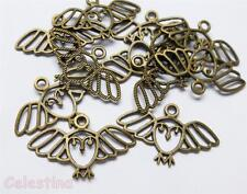 10 Antique Bronze Owl Charms Filigree Owls Outline Flying Owls Birds 29mm x18mm