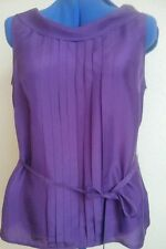 MONSOON - WOMANS PURPLE SILK  SLEEVELESS TOP - SIZE 16 - NEW WITH TAGS