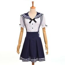 Lolita Girls Navy Style White Tops Braces Skirt Casual  Sailor Suit Dress Outfit