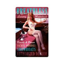 Breathless Luxury Motorboats Pin Up Pinup Girl Tin Metal Steel Sign 12x18