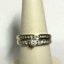 14k White Gold .50 CT. Round Diamonds Engagement Ring Bridal Wedding Set