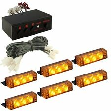 Amber 18 LED Emergency Vehicle Car Strobe Flash Lights Front Grille Truck Yellow