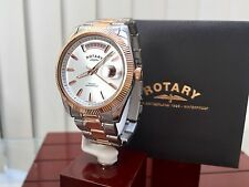 Rotary Havana Men's Watch Day & Date 9ct rose Gold plated Watch RRP £240 (R86