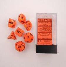 Chessex Polyhedral 7 Die Vortex Orange w/ Black Numbers Dice CHX 27433