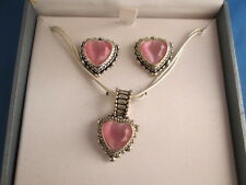 New Worthington Crystal Pink Heart Pendant Necklace & Earrings Jewelry Set MIB