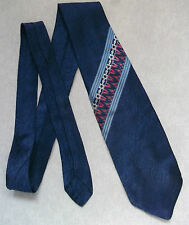 VINTAGE WIDE TIE 1970'S RETRO MOD WOVEN IN FRANCE RHODIA ACETATE NAVY PINK