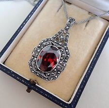 Art Deco Garnet and Marcasite Pendant Necklace Sterling Silver