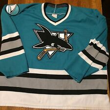 vtg SAN JOSE SHARKS 90s CCM Jersey XL teal nhl hockey Adult throwback