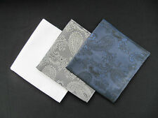 3x Mens Paisley Silk Satin Pocket Square/Handkerchief/Hankies-White, Grey, Navy