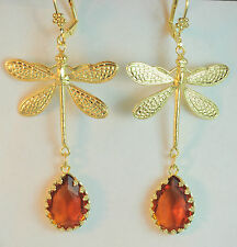 Art Deco Gold Plated Czech Art Nouveau Dragonfly Amber Handmade Glass Earrings