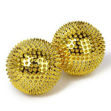 2× Gold Magnetic Massage Ball Stress Relief Trigger Point Ball Therapy Hand Palm