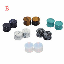 You Get All 6 Pairs Stone Ear Flesh Tunnel Plugs Gauges Body Piercing Jewelry