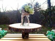 Rustic Wood Tree Slice Wedding Cake Stand Platter Log Round Decor 10-12""