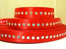 1 METRE RED DIAMONTE AFFECT RIBBON SIZE 5/8 BOWS HEADBANDS BABY HAIR