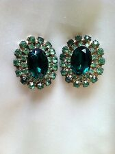 Oval Faceted Emerald & Green Rhinestone Surround Juliana Style Clip Earrings