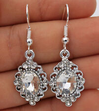 925 Silver Plated Hook- 1.6'' Wedding Hollow Flower Crystal Party Earrings #04