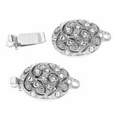 ELEGANT ELEMENTS Rhodium Plated Oval Box Clasp With Vine Design And SWAROVSKI Cr