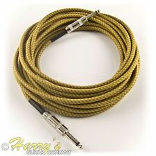 Vintage Retro Guitar Cable | 8m, Yellow/Brown, Straight Plugs | High Quality