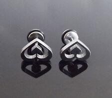 Silver Spades Heart Stud PAIR Ear Ring Earrings Biker Punk