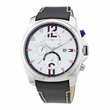 Tommy Hilfiger Preston Mens Sport Watch Multi Function Brown Leather 1790834 NEW