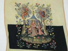 Unfinished Needlepoint Tapestry Medieval Lady Girl Baby Lion Unicorn Petit point