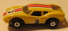 Aurora Tuff Ones Lola GT Slot Car, Lemon with Orange and White Stripes, #1471