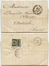 TURKEY 1883 ENTIRE LETTER to FRANCE...1pi...BLUE CANCEL Stamp broken as seal