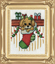 Cross Stitch Kit Design Works Christmas Puppy In Stocking w/Frame & Mat #DW510