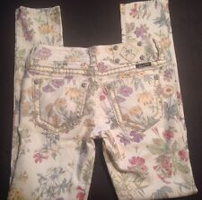 Miss Me Skinny Jeans White With Flower Print Ankle Skinny Size 25 $109