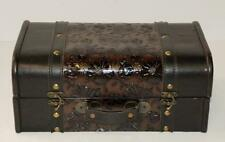 Faux Brown Leather Floral Embossed Travel Storage Chest Trunk Train Case