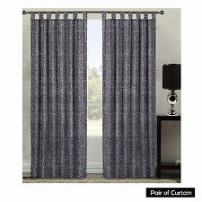 PAIR of LEOPARD Black Grey Sunout Tab Top Curtains 110cm x 213cm