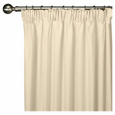 LARGE LINED PAIR NEW CREAM ECRU WEAVE 100% COTTON CURTAINS. L183CM X 163CM