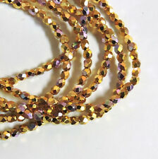24k Gold Plated AB 3mm Faceted Firepolish Czech Glass 48 beads